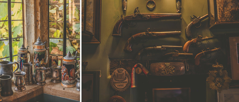 Pistols and tankards in the bar room at Maunsel house