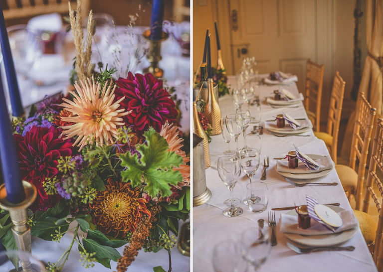 The wedding table in the dining room at Maunsel House