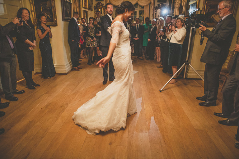 The bride and grooms first dance in the dining room at Maunsel House
