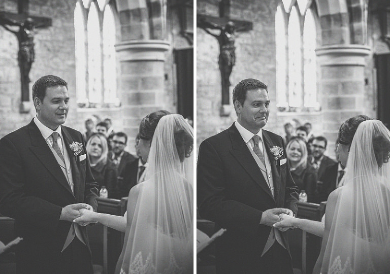 The groom holds the hands of the bride during the wedding ceremony at St Bartholomews church