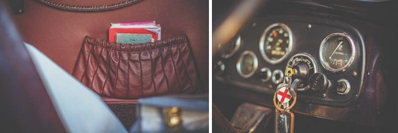 The ignition keys and dashboard of the old vintage car