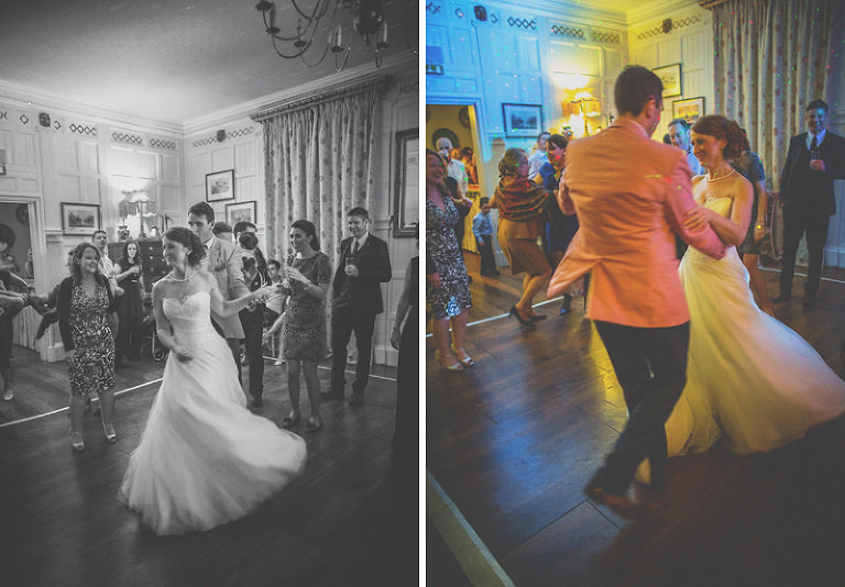 The bride and one of the wedding guests dance together on the dancefloor at homme house