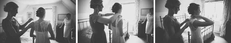 The bride and her bridesmaid get ready