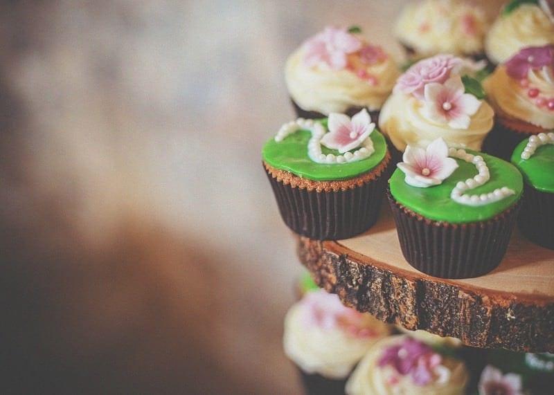 Wedding cakes on wodden shelves