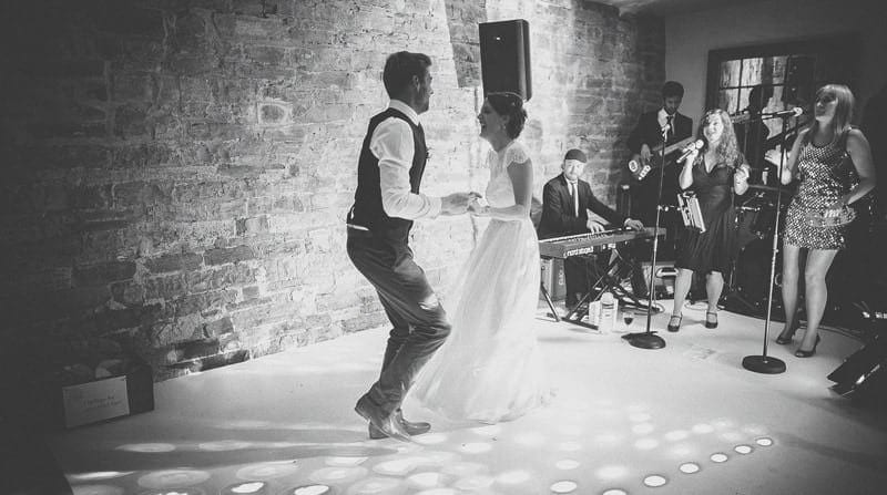 The bride and groom on the dancefloor for their first dance
