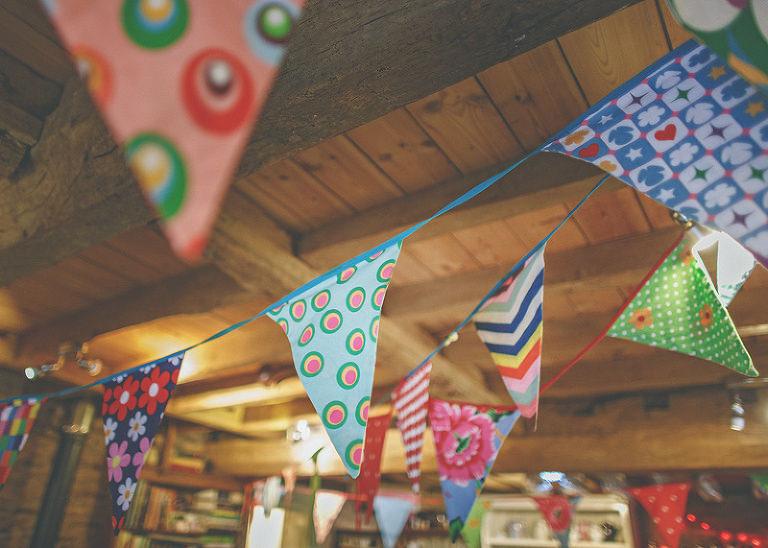 Wedding decorations in the barn at Hunstile Organic Farm