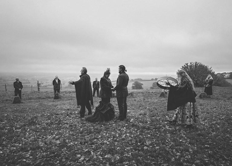 The pagan ceremony around the stone circle