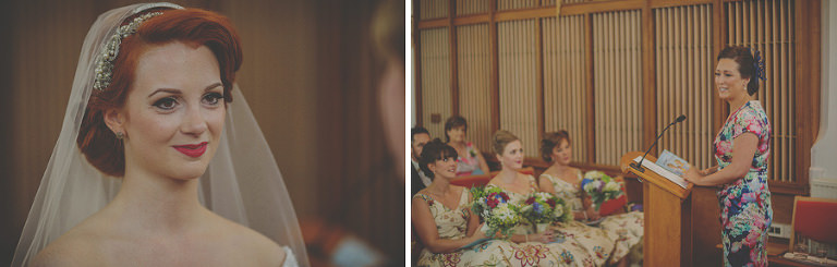 A wedding guest delivers a speech in church