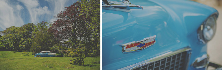 The American car arrives in the gardens of Penmaen house