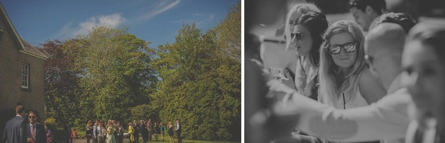 Wedding guests in the gardens at Penmaen house