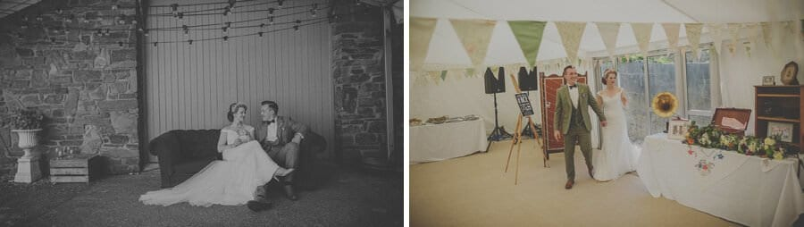 The bride and groom enter the marquee at Penmaen house
