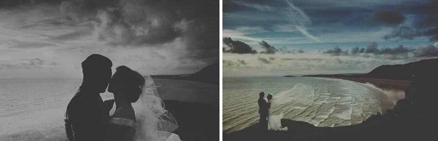The bride and groom at Rhosilli beach