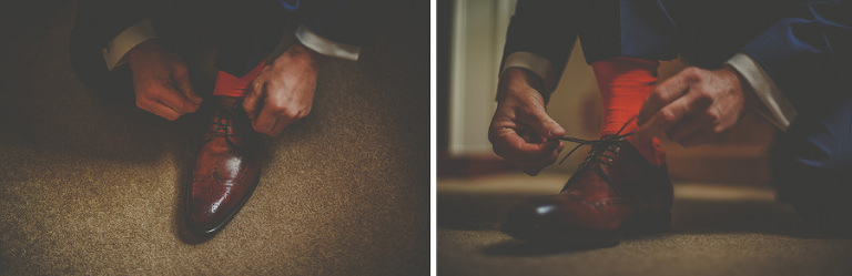 The groom ties his laces