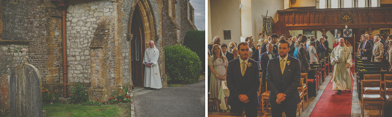 The vicar awaits the bridal party outside the church at Chard