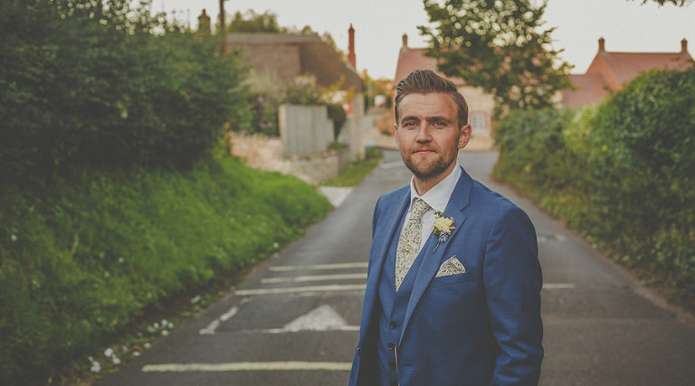 The groom outside the family house in Chard