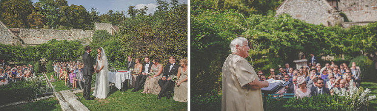 The bride and group hold hands during the outdoor ceremony