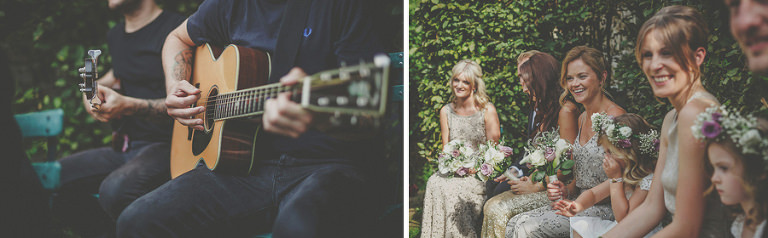 A guitar is played during the ceremony as the bridesmaids listen