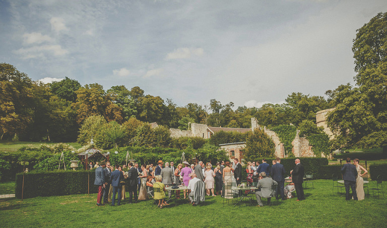 The wedding party on the front lawn at Chateau Vallery