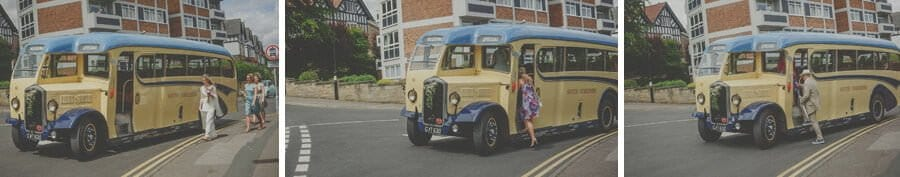 The wedding party step into the vintage bus outside the house