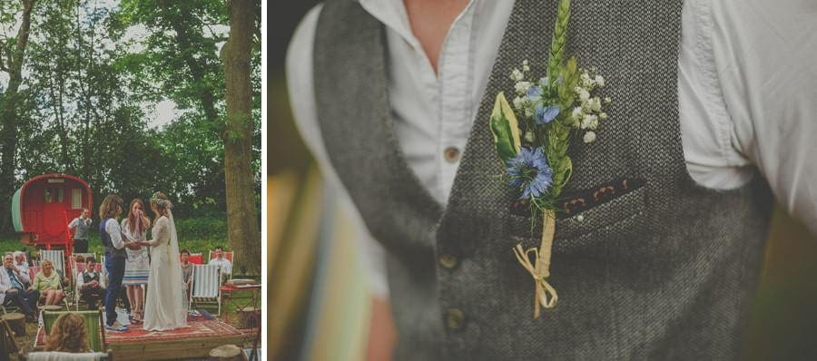 A flower attached to the waistcoat of a wedding guest