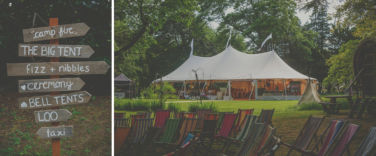 The wedding marquee at Copper Beech Glade