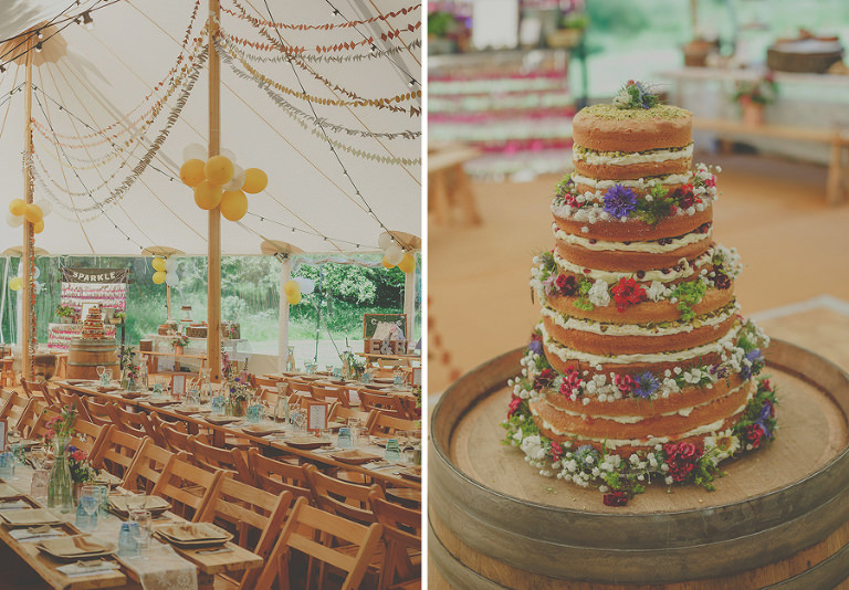 The wedding cake and marquee