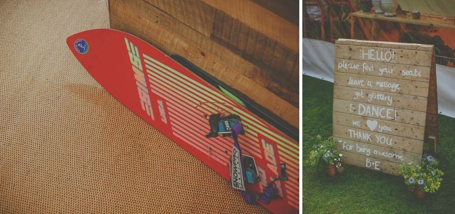 A ski board lies on the floor of the marquee