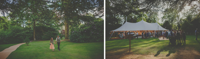 The wedding party stand outside the marquee