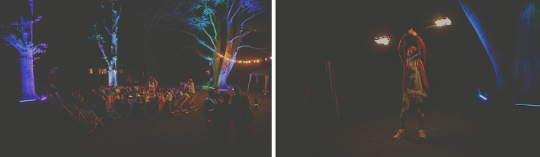 The groom spins a fire stick above his head at copper beech glade