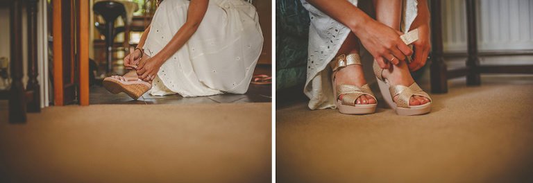 A bridesmaid fastens the buckles on her shoes