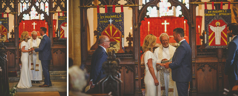 The wedding ceremony in the church