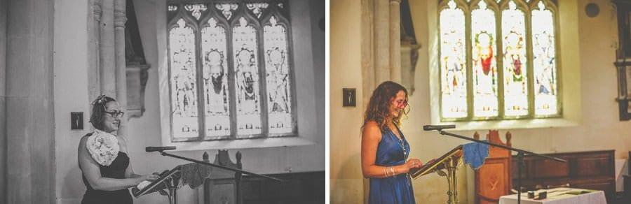 Guests speak in church