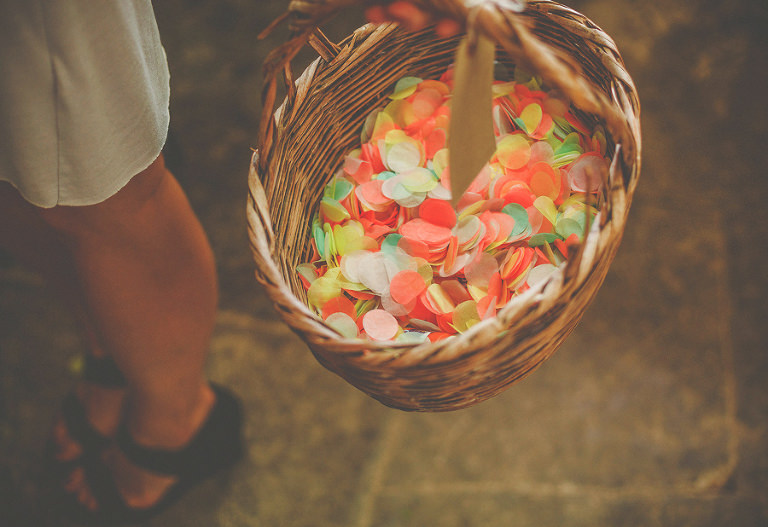 Wedding petals in a whicker basket