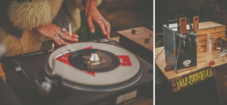 The DJs turntables
