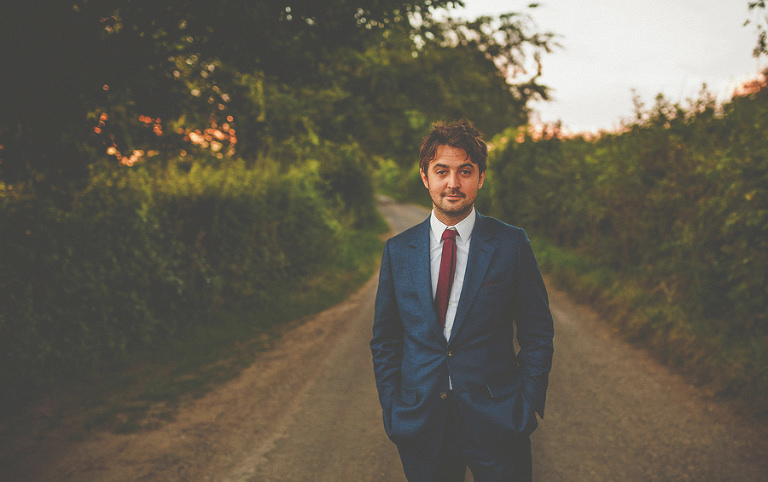 The groom outside Penny Square Barn