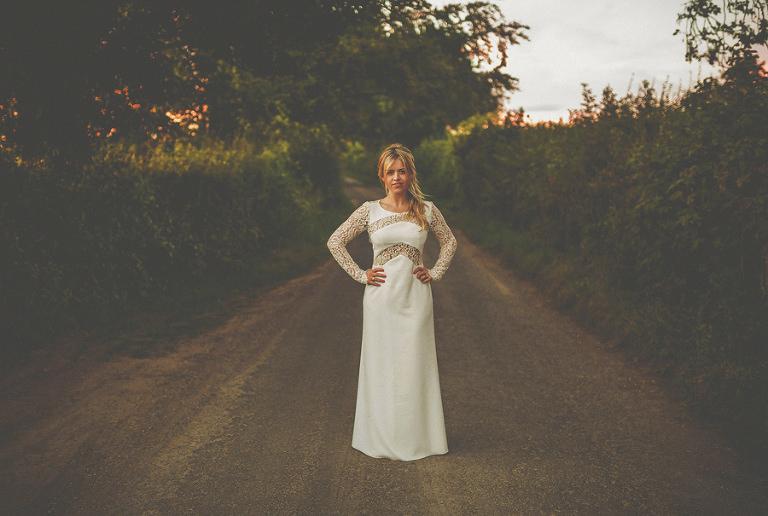 The bride outside Penny Square Barn