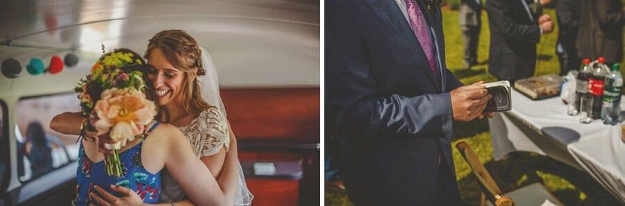 The bride embraces a friend