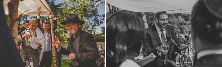 A man delivers his speech under the chuppah in front of the bride and groom