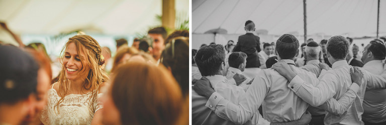The wedding party dance together in the marquee at brook farm