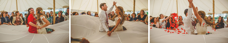 The bride and groom dance together in the marquee at brook farm