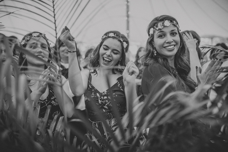 Jewish women dancing in the marquee at Brook farm