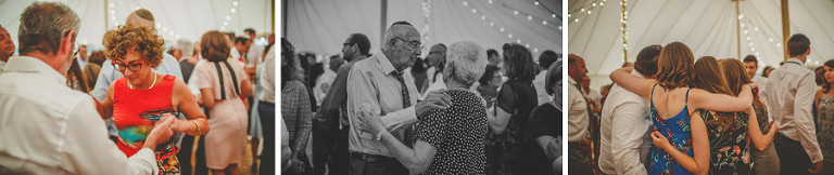 Wedding guests on the dancefloor in the marquee