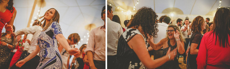 Wedding guests on the dancefloor in the marquee at Brook farm