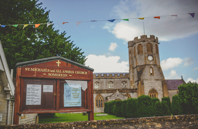 The sign at St Michaels and all angels church somerton