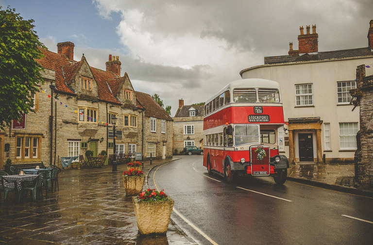 The wedding bus arrives in Somerton