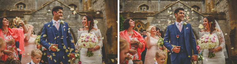 Guests throw confetti at the bride and groom outside the church