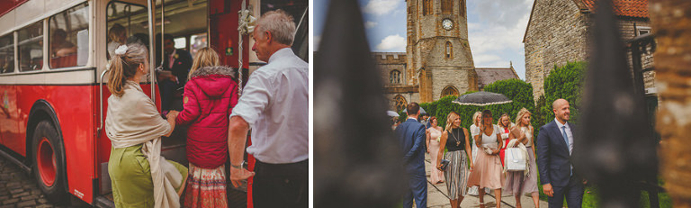 Guests board the wedding bus outside the church in Somerton