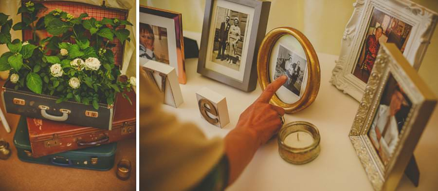 Framed family photographs in the marquee