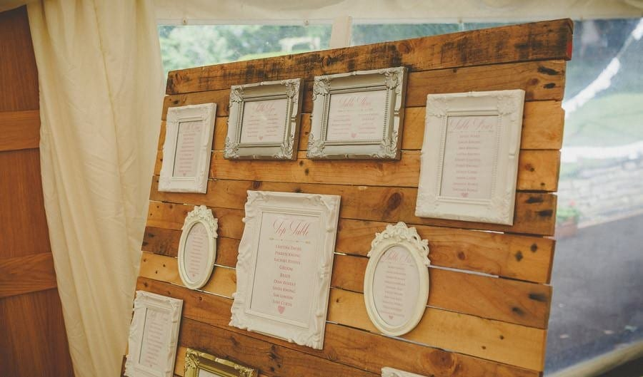 Frames of the table seating plan in the marquee