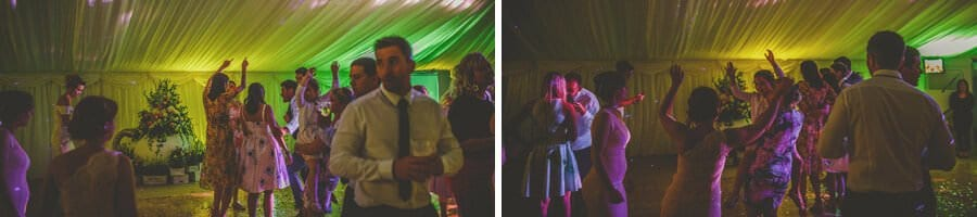 Wedding guests dance on the dancefloor